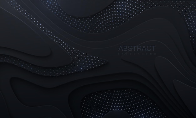 Abstract black papercut background with wavy layers and silver glitters