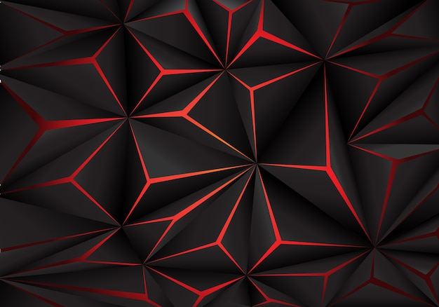 Abstract black polygon red light futuirstic technology background