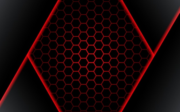 Abstract black polygon red light futuirstic technology design background vector illustration. - vector