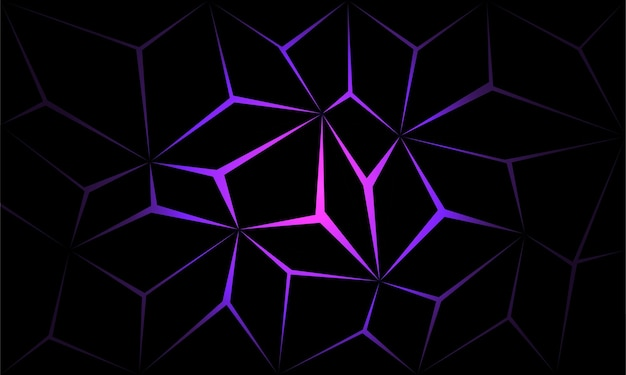 Абстрактный черный многоугольник фиолетовый свет футуристические технологии дизайн фона векторные иллюстрации