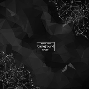 Abstract black polygonal space background with connecting dots and lines. geometric polygonal background molecule and communication. concept of science, chemistry, biology, medicine, technology.