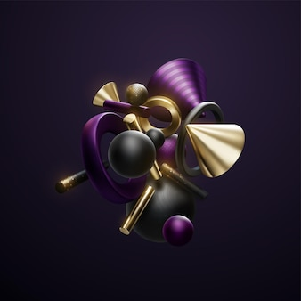 Abstract black purple and golden geometric 3d shapes cluster