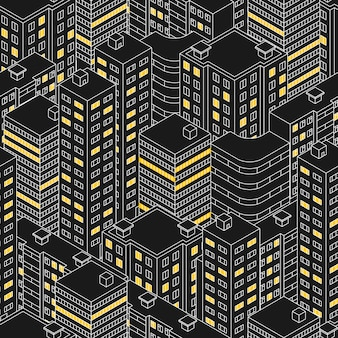 추상 검은 완벽 한 패턴입니다. 밤에 아이소메트릭 건물입니다. 선형 스타일. 고층 빌딩의 개요입니다. 창문이 있는 집. windows의 빛. 도시 거리입니다. 벡터 일러스트 레이 션.