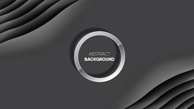 Abstract black smooth silk fabric background with circle frame.