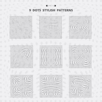 Abstract black square dots mesh stylish pattern set.