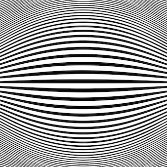 Abstract black stripe line op art fish eye background