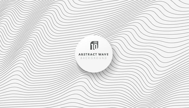 흰색 바탕에 추상 검은 줄무늬 라인 물결 패턴.