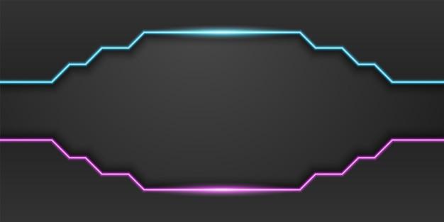 ネオンブルーとパープルのライトラインダークミニマルデザインの抽象的な黒の技術の背景フレーム