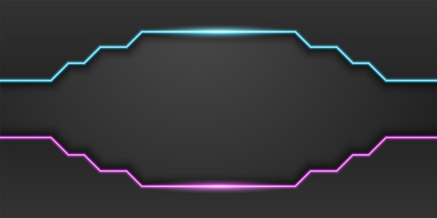 Abstract black technology background frame with neon blue and purple light linedark minimal design
