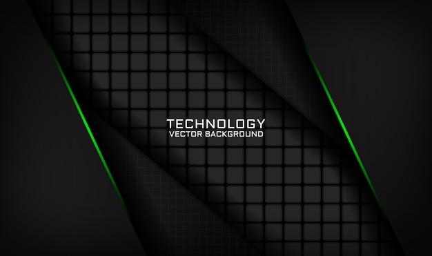 Абстрактный черный технологический фон перекрывает слой с эффектом зеленого света