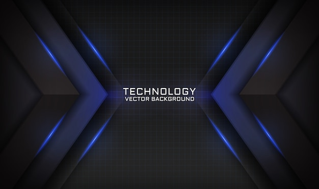 Abstract black technology background with blue light effect