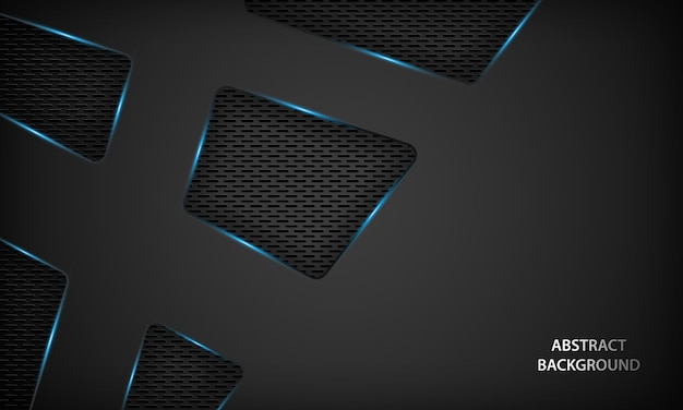 Abstract black technology background with blue metallic.