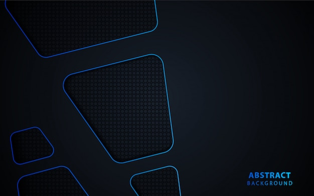 Abstract black technology background with blue metallic