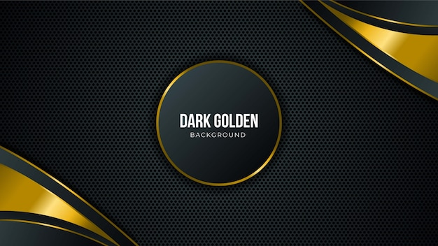 Абстрактный черный фон технологии с золотыми элементами и копией пространства для текста