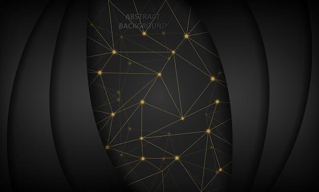 Абстрактный черный технологический фон с золотой многоугольной соединительной линией точек