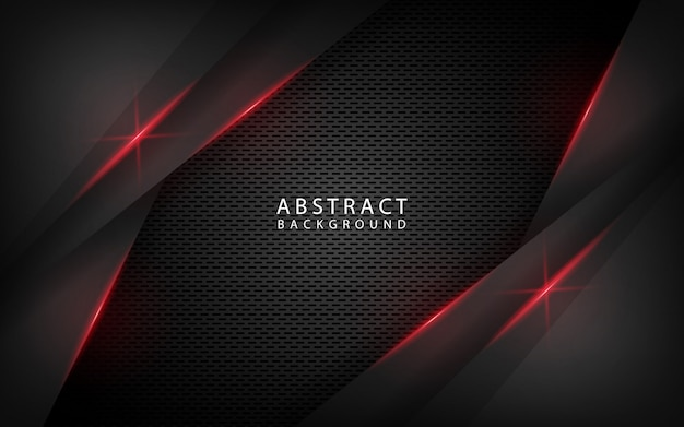 Abstract black technology background with red metallic effect