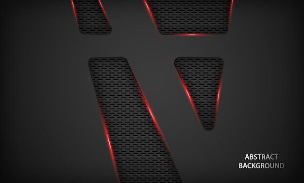 Abstract black technology background with red metallic.