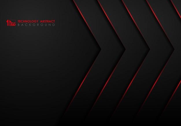 赤い輝きレーザーデザインの背景を持つ技術の抽象的な黒いテンプレート。