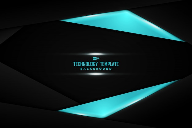 Abstract black template of overlap technology design decorative background.