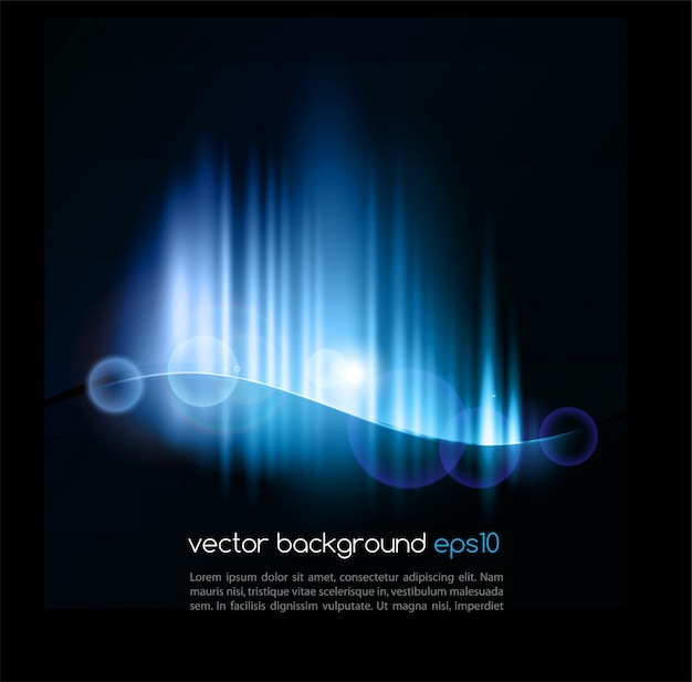 Abstract black template with lighted wave