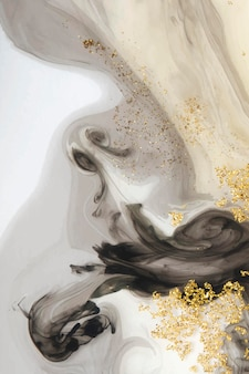 Abstract black watercolor and gold glitter background