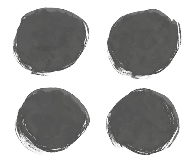 Abstract black watercolor round frames