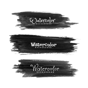 Abstract black watercolor strokes set