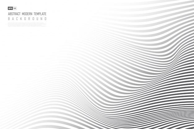 抽象的な黒い波状デザインアートワークの背景。