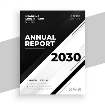 Abstract black and white annual report business flyer template