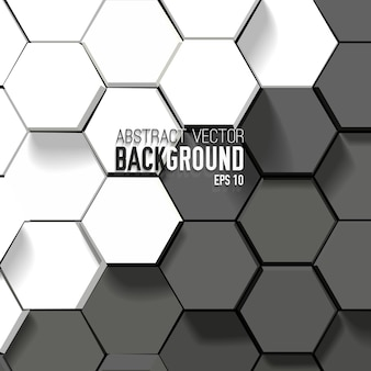 Abstract black and white background with geometric hexagons