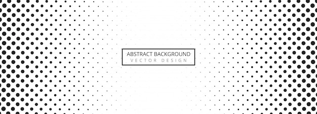 Abstract black and white dotted banner background