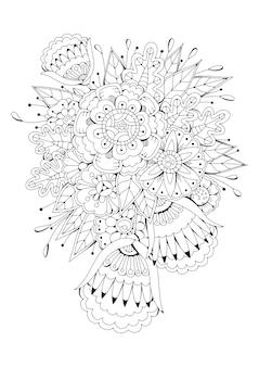 抽象的な白黒の花。図。ぬりえ。