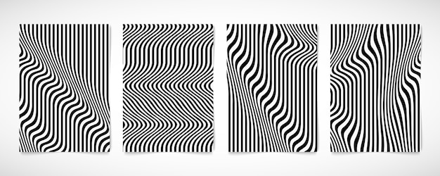 Abstract black and white line wavy pattern brochure set design artwork.