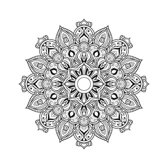 Abstract black and white mandala art outline style