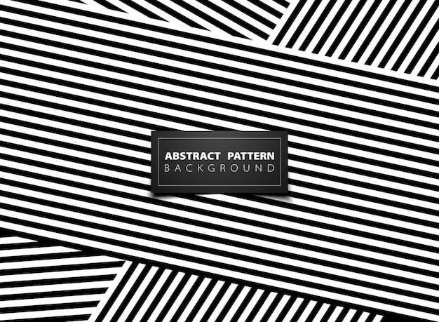 Abstract black and white op art stripe line pattern design.