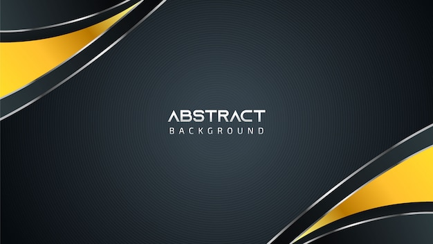 Abstract black and white technology background with golden elements and copy space for text