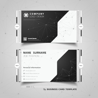 Abstract black and white technology business card template design