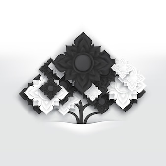 Abstract black and white thai art flowers