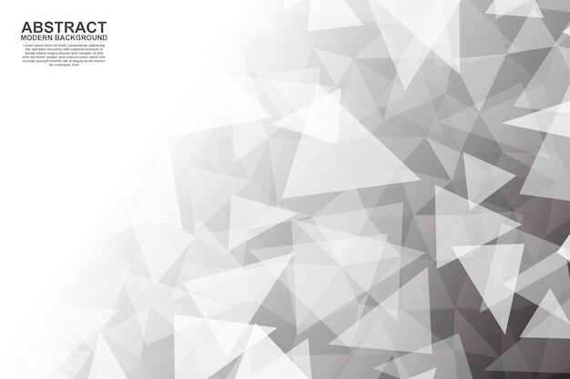 Abstract black and white triangles polygonal banner background vector illustration
