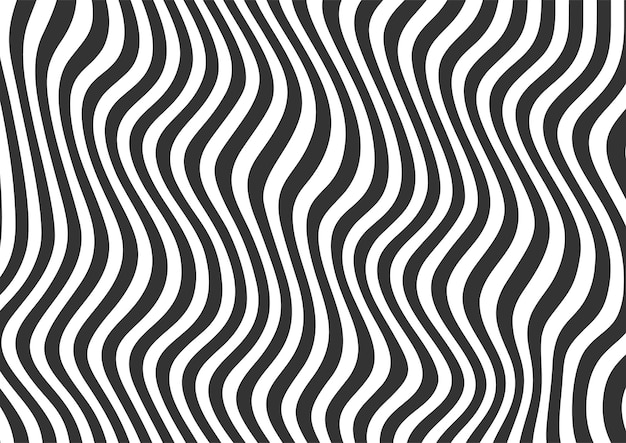 Abstract black and white wavy lines striped background, wavy lines background pattern
