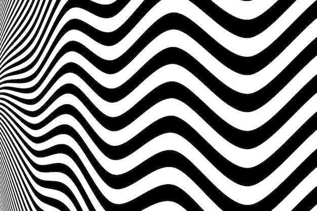 Abstract black and white wavy pattern design background