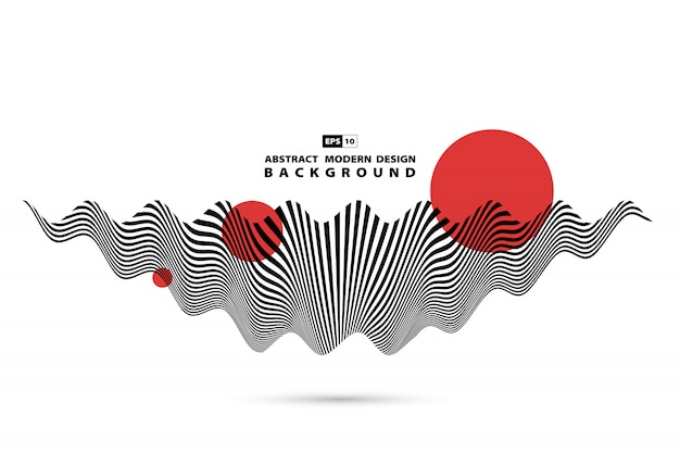 Abstract black and white wavy sound wave shape decoration background.