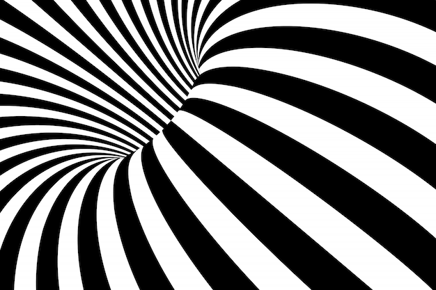 Abstract black and white wavy stripes background.