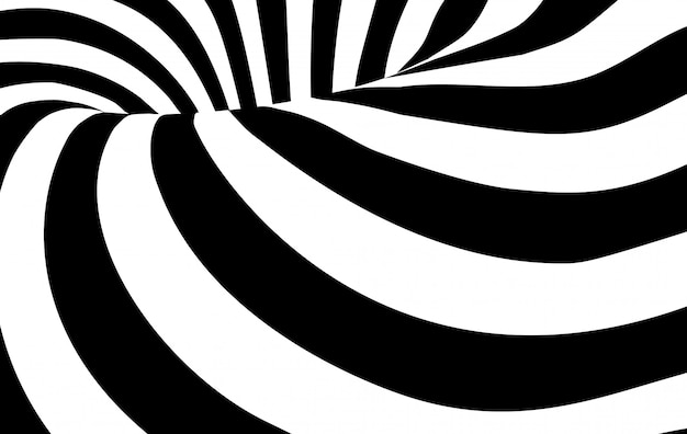 Abstract black and white wavy stripes background