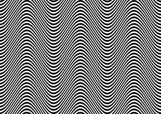 Abstract in black and white with wavy lines pattern