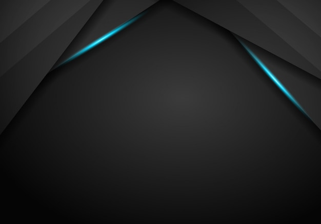 Abstract black with blue frame template layout design tech concept background