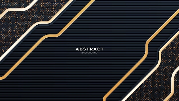 골드 라인 기술 배경을 가진 추상 블랙 현대 미래 벽지 솔리드 질감 반짝이와 깊은 미래 배경