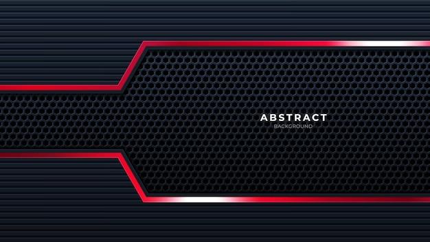 赤い線の技術の背景と抽象的な黒現代の未来的な壁紙ソリッドテクスチャ深い未来的な背景。ベクター。