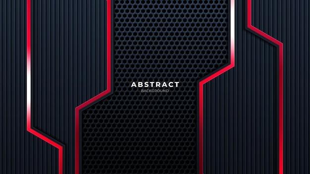 Абстрактный черный с красной линией технологии фона современные футуристические обои твердые текстуры глубокие футуристические фоны. вектор.