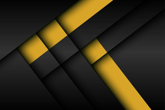 Abstract black with yellow stripe shadow dimension layers background